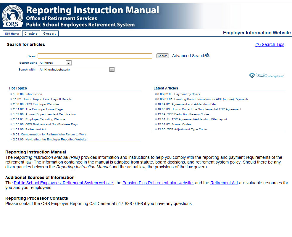 Office Of Retirement Services U2013 Reporting Instruction Manual